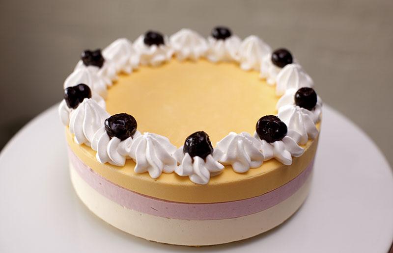 Botolino special cake with mango strawberry and vanilla semifreddo