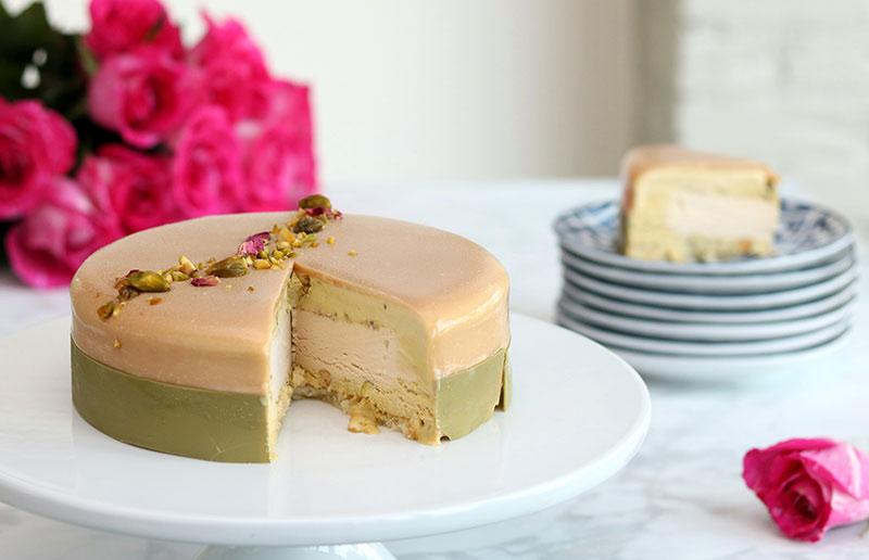 Pistachio semifreddo cake caramel gelato sponge cake