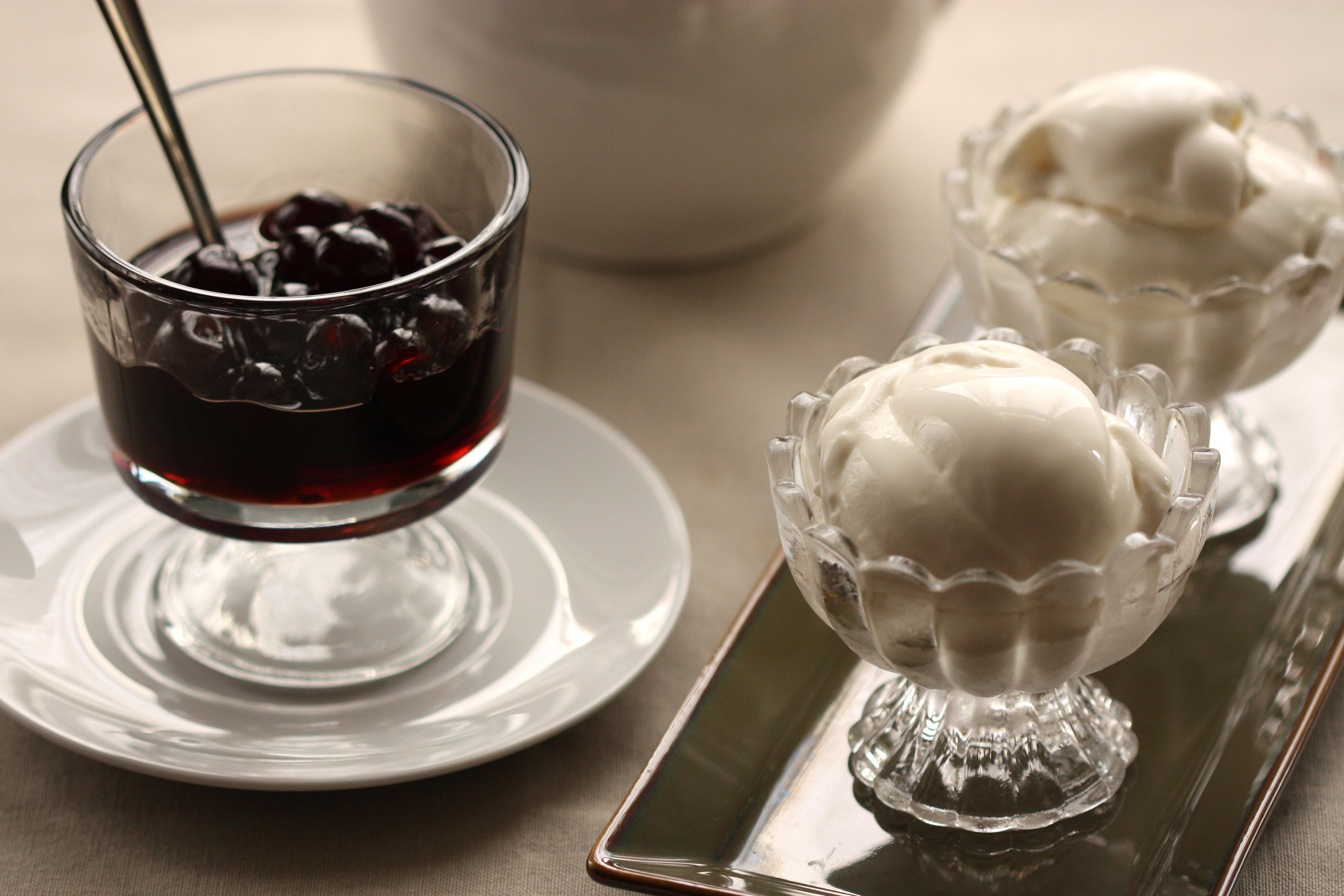 Fior di Latte gelato with amarene cherries